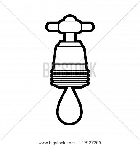faucet with water drop frontview icon image vector illustration design black line