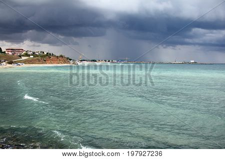 Stormy weather at the beach, at Black Sea.