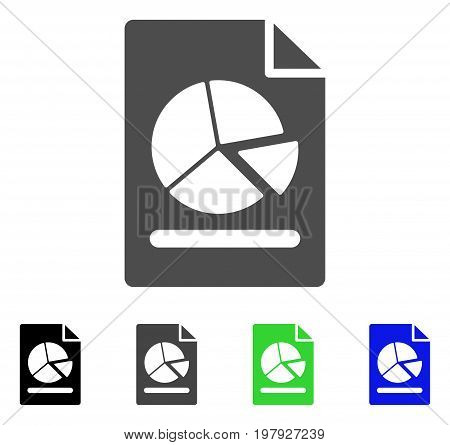 Pie Chart Report Page flat vector pictograph. Colored pie chart report page, gray, black, blue, green icon versions. Flat icon style for graphic design.