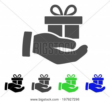 Present Box Give Hand flat vector pictogram. Colored present box give hand, gray, black, blue, green icon variants. Flat icon style for web design.