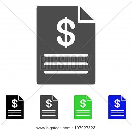 Price List flat vector pictograph. Colored price list, gray, black, blue, green icon versions. Flat icon style for graphic design.