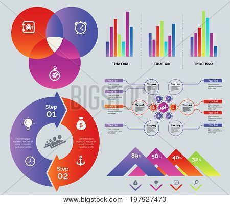 Business infographic set. Can be used for workflow layout, annual report, web design. Business and marketing concept. Venn chart Bar graph Flowchart Cycle process chart Percentage comparison diagram