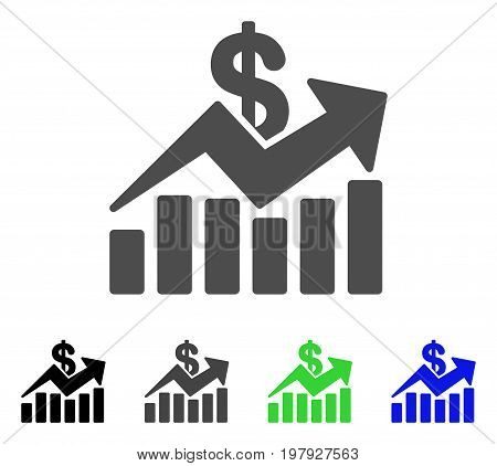 Sales Bar Chart Trend flat vector icon. Colored sales bar chart trend, gray, black, blue, green icon versions. Flat icon style for graphic design.