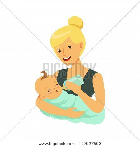 Happy blonde mother holding her bonded baby and feeding with milk bottle colorful vector Illustration on a white background