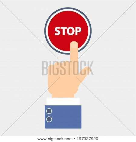 Hand push stop, press the button. Touch icon concept. Vector illustration