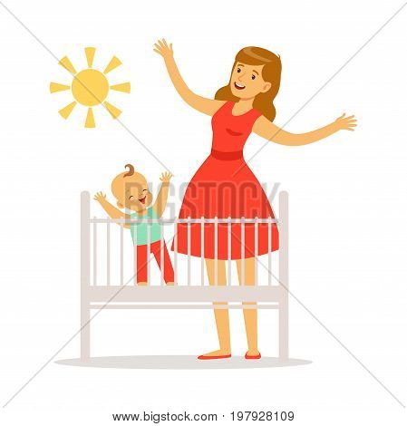Little baby is in the crib woke up in the morning, mother and little baby in the bedroom enjoying the sun colorful vector Illustration on a white background