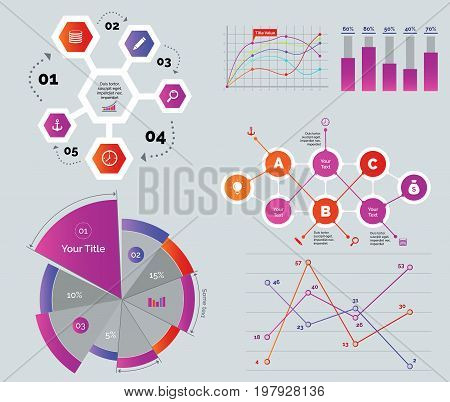 Creative diagrams set. Can be used for workflow layout, annual report, web design. Finance concept. Cycle chart Line graph Bar graph Percentage pie chart Flowchart Comparison line chart