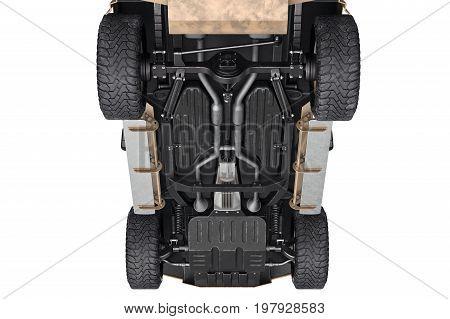 Car vehicle 4wd suspension big wheels. 3D rendering