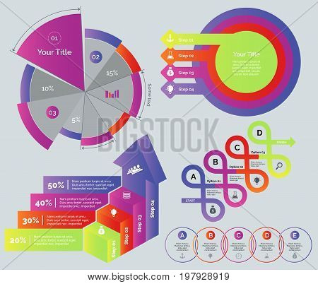 Infographic design set. Can be used for workflow layout, diagram, annual report, web design. Business and marketing concept. Pie chart Process chart Process bar graph Options graph Venn chart