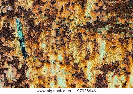 texture of rusty iron cracked paint on an old metallic surface sheet of rusty metal with cracked and flaky paint abstract rusty metal texture rusty metal background for design with copy space