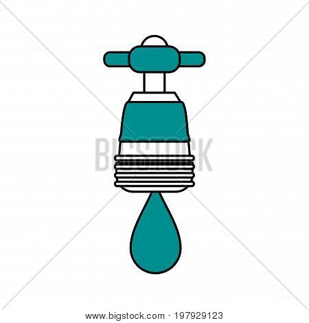 faucet with water drop frontview icon image vector illustration design one color