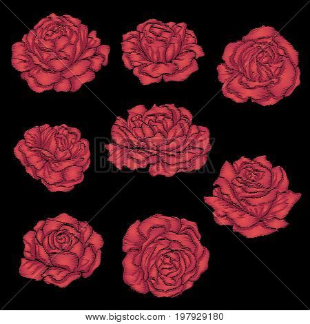 Set embroidery red rose on black background. Stock line vector illustration.