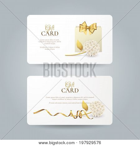 Vector set of elegant gift cards with hydrangea, paper shopping bag, golden bow and ribbon. Luxury template for gift vouchers, coupons and certificates with flowers. Isolated from the background.