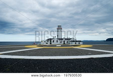 Fanad lighthouse and helipad in county Donegal, Ireland