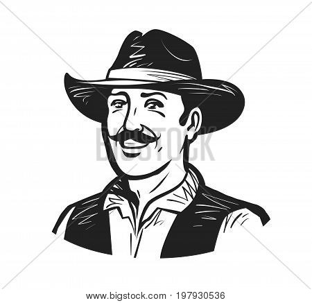 Portrait of happy cowboy or farmer. Grower, winemaker, winegrower, brewer logo. Sketch vector illustration