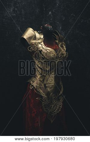 Golden armor for women. Carries pieces of gold and fabrics and feathers in red color