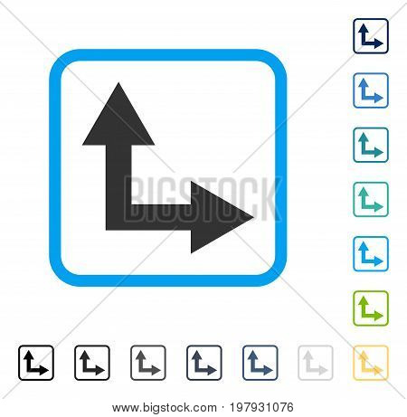 Bifurcation Arrow Right Up icon inside rounded rectangle frame. Vector illustration style is a flat iconic symbol in some color versions.