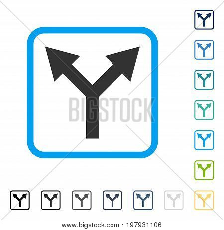 Bifurcation Arrow Up icon inside rounded rectangle frame. Vector illustration style is a flat iconic symbol in some color versions.