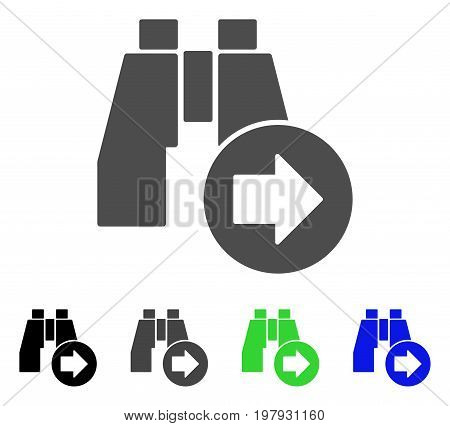 Find Next Binoculars flat vector icon. Colored find next binoculars, gray, black, blue, green pictogram variants. Flat icon style for application design.