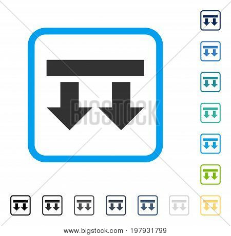 Bring Down icon inside rounded square frame. Vector illustration style is a flat iconic symbol in some color versions.