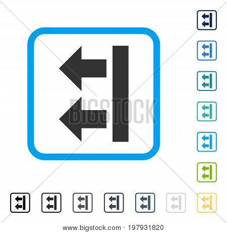 Bring Left icon inside rounded square frame. Vector illustration style is a flat iconic symbol in some color versions.