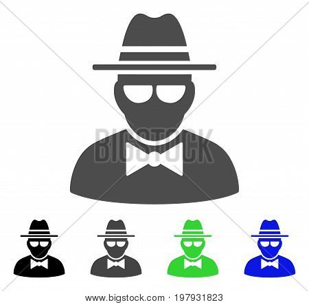 Secret Agent flat vector pictogram. Colored secret agent, gray, black, blue, green icon variants. Flat icon style for web design.