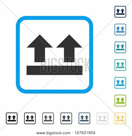 Bring Up icon inside rounded rectangle frame. Vector illustration style is a flat iconic symbol in some color versions.
