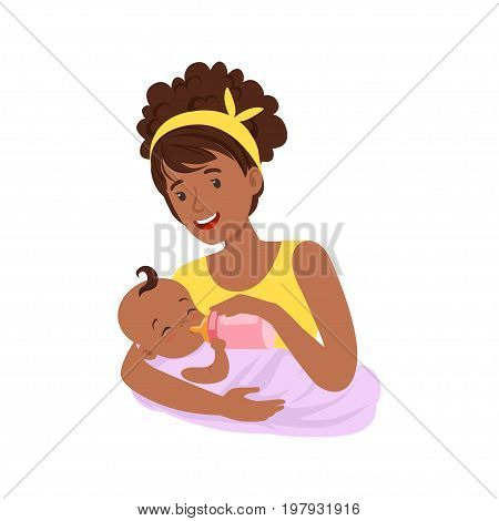 Young black mother breastfeeding her baby with breast milk, colorful vector Illustration on a white background