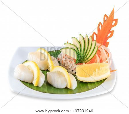Sashimi Plate Isolated On White Background With Clipping Path