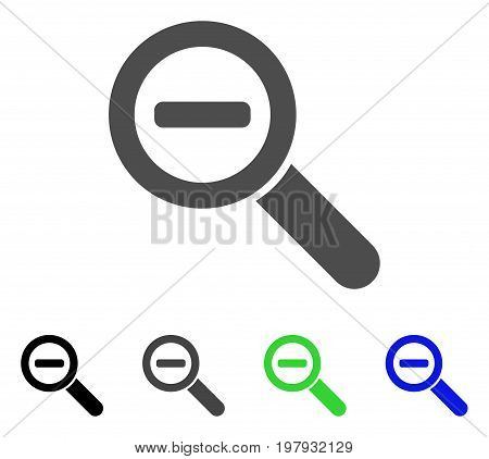 Zoom Out flat vector pictogram. Colored zoom out, gray, black, blue, green icon variants. Flat icon style for application design.
