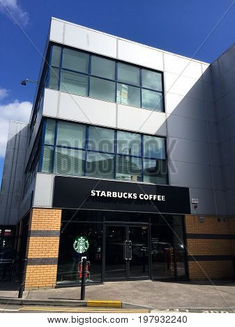 June 4th, 2017, Cork, Ireland - the recently open Starbucks Coffee shop in the Blackpool Retail Shopping Centre