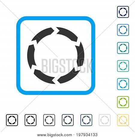Circulation icon inside rounded rectangle frame. Vector illustration style is a flat iconic symbol in some color versions.