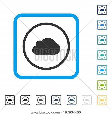 Cloud icon inside rounded rectangle frame. Vector illustration style is a flat iconic symbol in some color versions.