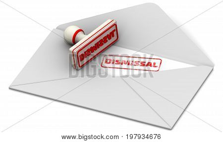 Dismissal. Stamp and open postal envelope. Red seal and imprint