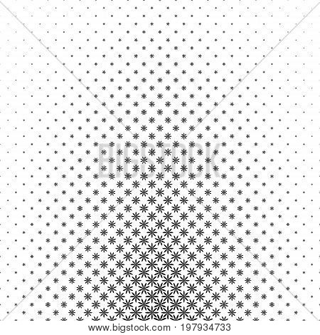 Monochrome geometrical stylized flower pattern - abstract floral vector background graphic design from curved shapes
