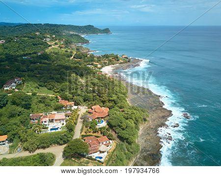 Travel destination in Nicaragua aerial view. Rancho santana in Nicaragua