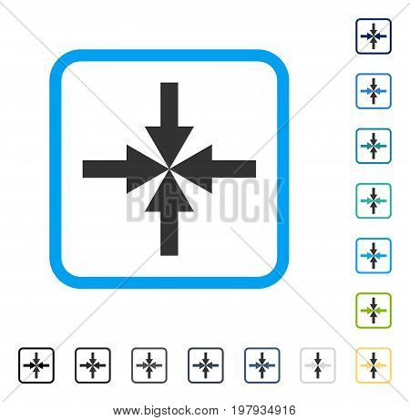 Compress Arrows icon inside rounded square frame. Vector illustration style is a flat iconic symbol in some color versions.