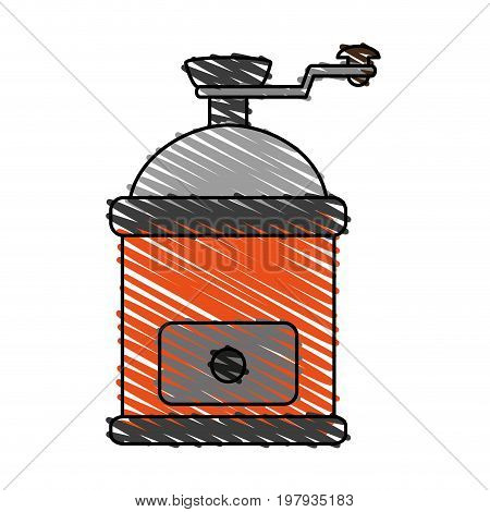 grinder coffee related icon image vector illustration design sketch style