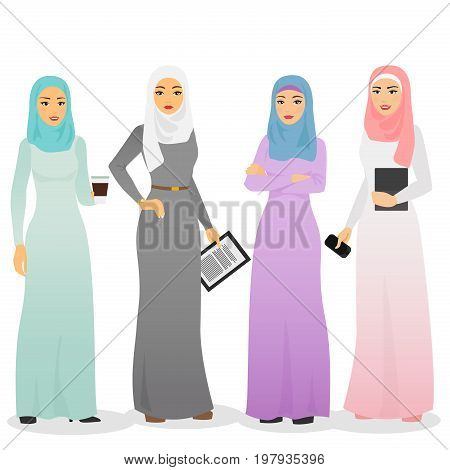 Vector illustration set of business arab women characters with hijab. Muslim female people