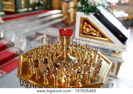 Orthodox icon lamp. Church oil. Church attribute. Lampstand Church. Christianity and faith. Religious temple. Prayer and penance. Inside of the Church. Orthodoxy and Catholicism. Goodness and love.