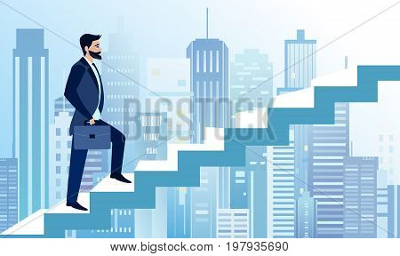 Vector illustration of man rises in business steps to succeed on big modern city background. A businessman is heading for success on the stairs. Business concept illustration in flat cartoon style.