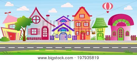 Vector illustration of cartoon houses in bright colors on sky background with clouds and balloon. Colorful lovely and funny buildings on street with trees and bushes in cartoon flat style.