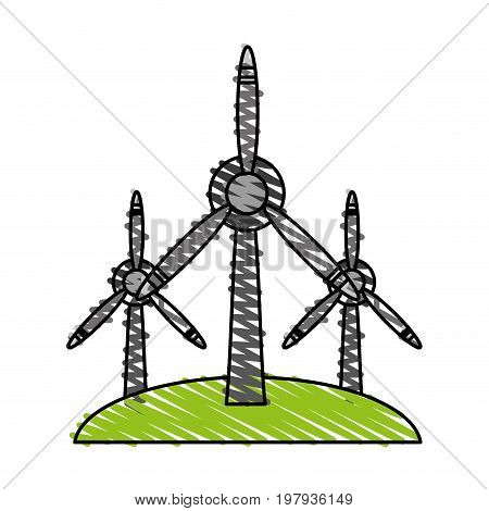 wind turbines renewable energy source icon image vector illustration design sketch style