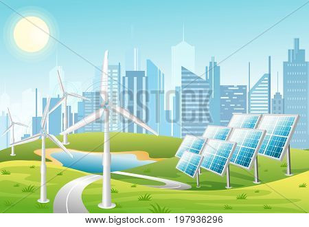 Vector illustration of solar panels and wind turbines in front of the city background with green hills. Eco green city theme. Ecological energy concept in flat cartoon style.