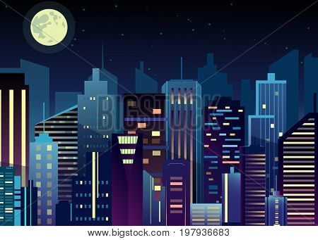 Vector illustration of night urban city landscape. Big modern city with skyscrapers in night time with lights in abstraction flat cartoon style