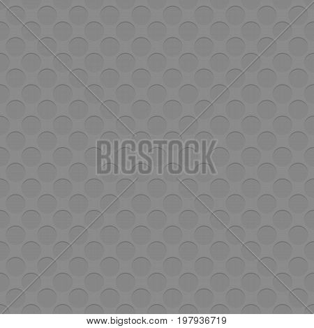 Grey repeating perforation circle pattern texture background - seamless spatial geometrical vector graphic with shadow effect