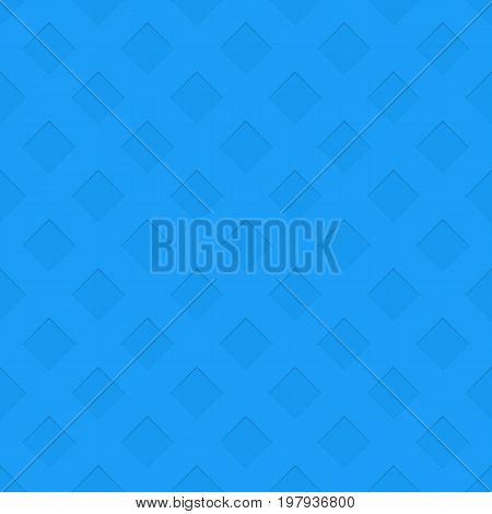 Blue repeating perforated texture background - spatial abstract vector graphic pattern from negative diagonal square shaped holes with shadow effect