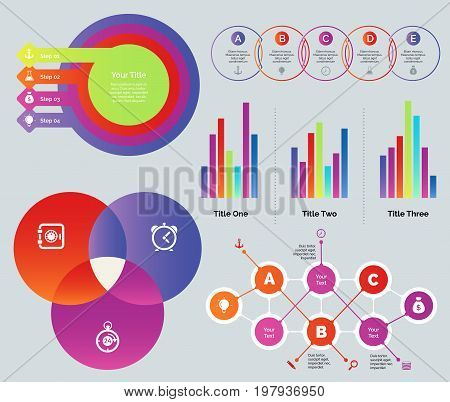 Presentation design set. Can be used for presentations, annual report, statistics information. Business and marketing concept. Process chart Venn process chart Bar graphs Venn graph Flowchart
