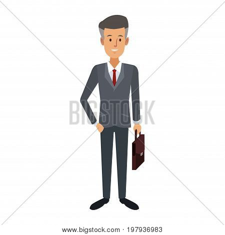 business successful man dressed in a suit standing with breifcase vector illustration