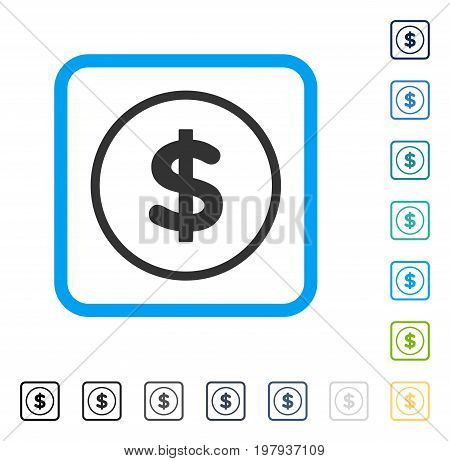 Dollar icon inside rounded rectangle frame. Vector illustration style is a flat iconic symbol in some color versions.
